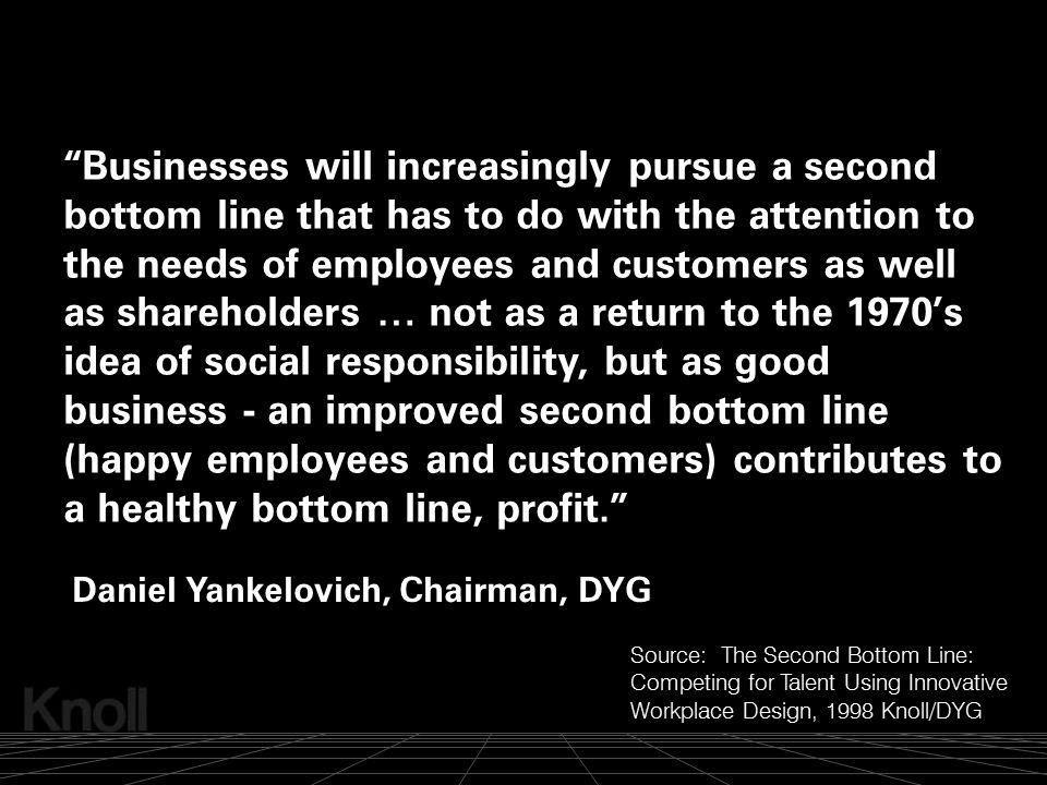 Businesses will increasingly pursue a second bottom line that has to do with the attention to the needs of employees and customers as well as shareholders … not as a return to the 1970's idea of social responsibility, but as good business - an improved second bottom line (happy employees and customers) contributes to a healthy bottom line, profit.