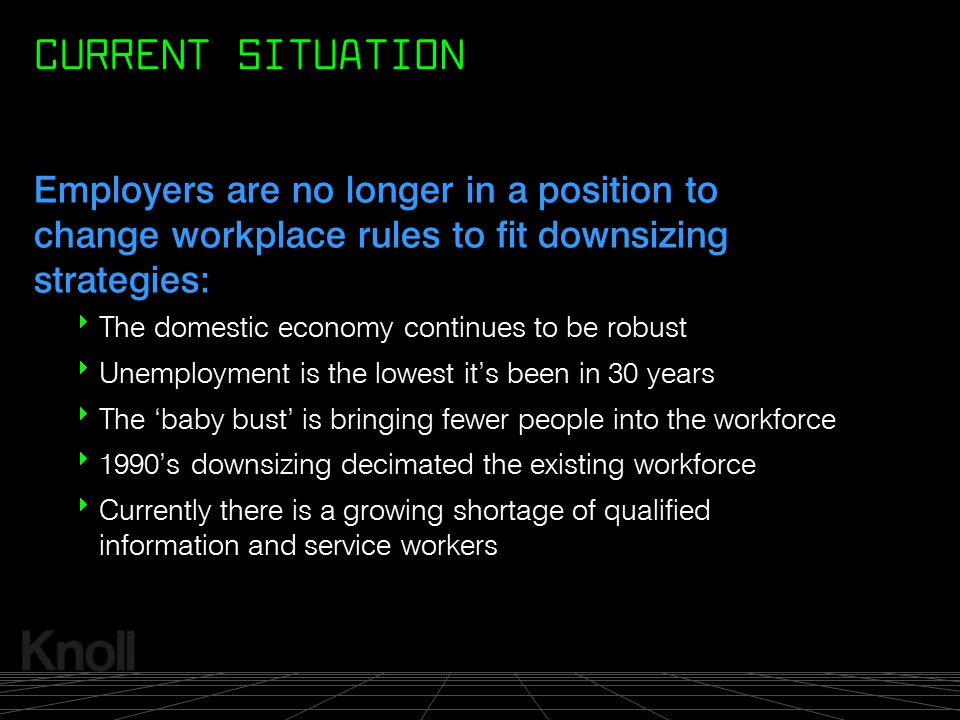 CURRENT SITUATION Employers are no longer in a position to change workplace rules to fit downsizing strategies: