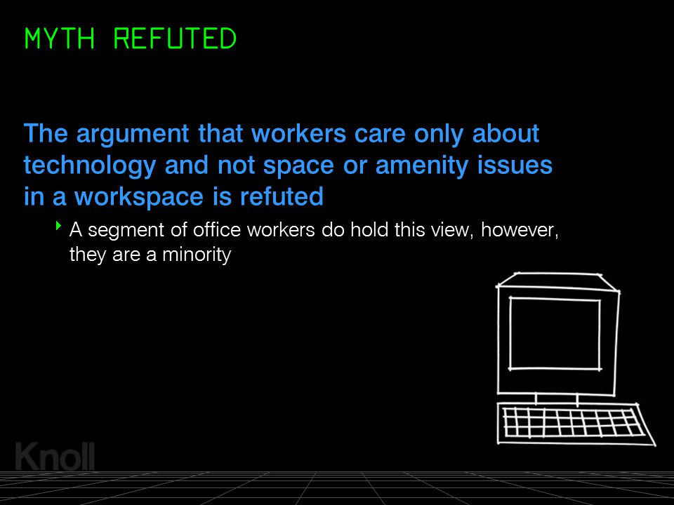 MYTH REFUTED The argument that workers care only about technology and not space or amenity issues in a workspace is refuted.