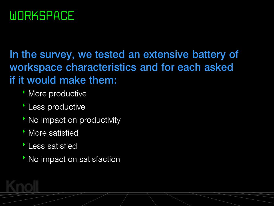 WORKSPACE In the survey, we tested an extensive battery of workspace characteristics and for each asked if it would make them:
