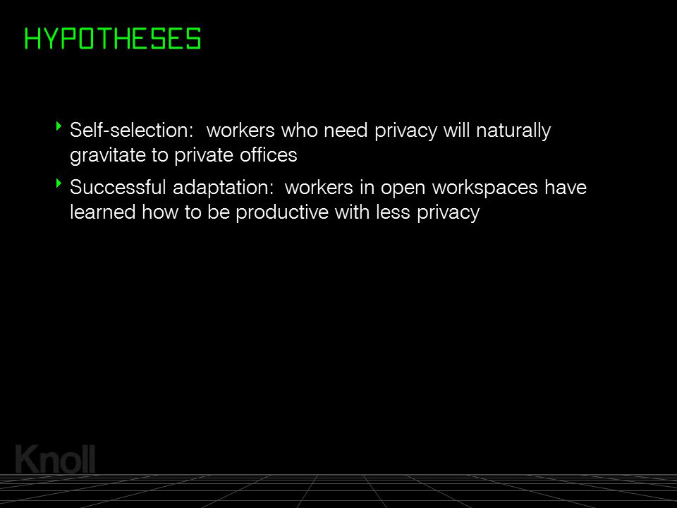 HYPOTHESES Self-selection: workers who need privacy will naturally gravitate to private offices.