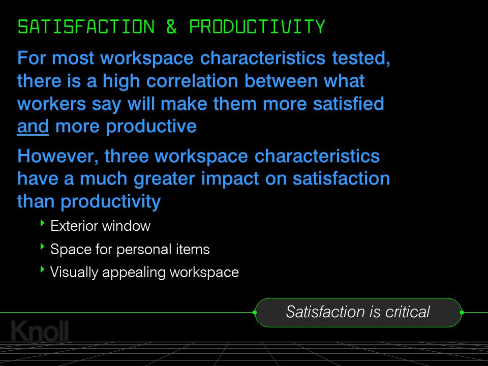 SATISFACTION & PRODUCTIVITY