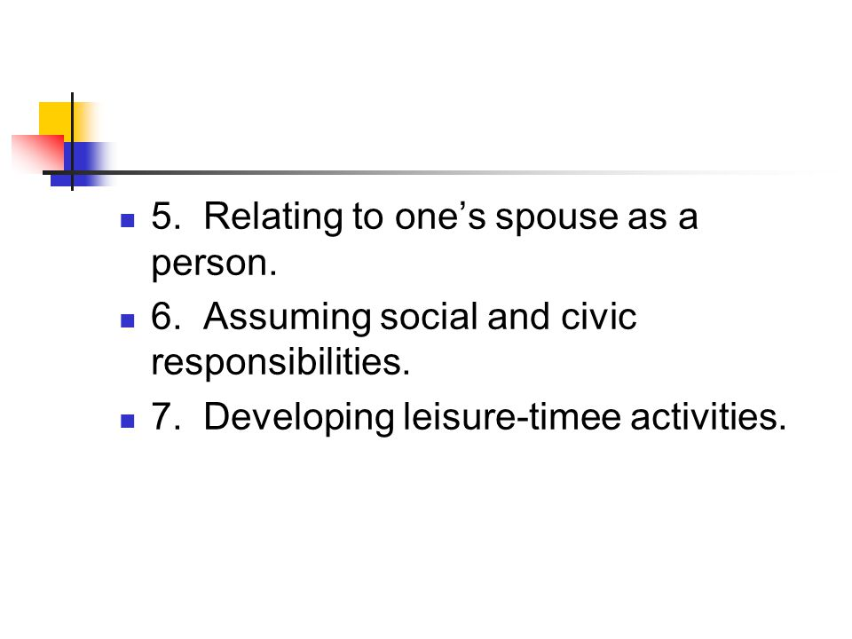 5. Relating to one's spouse as a person.