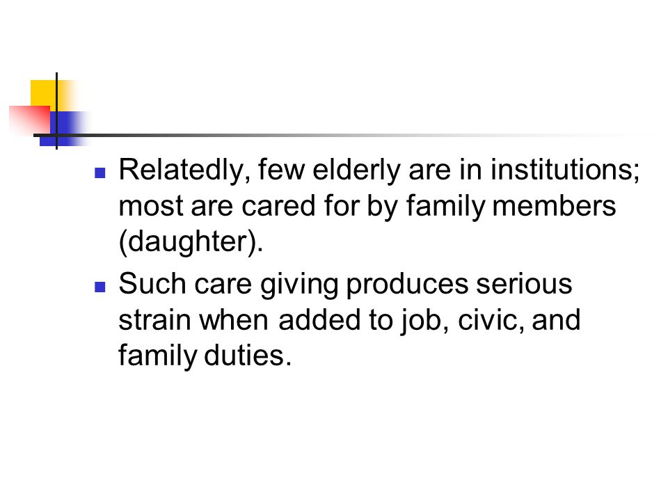 Relatedly, few elderly are in institutions; most are cared for by family members (daughter).