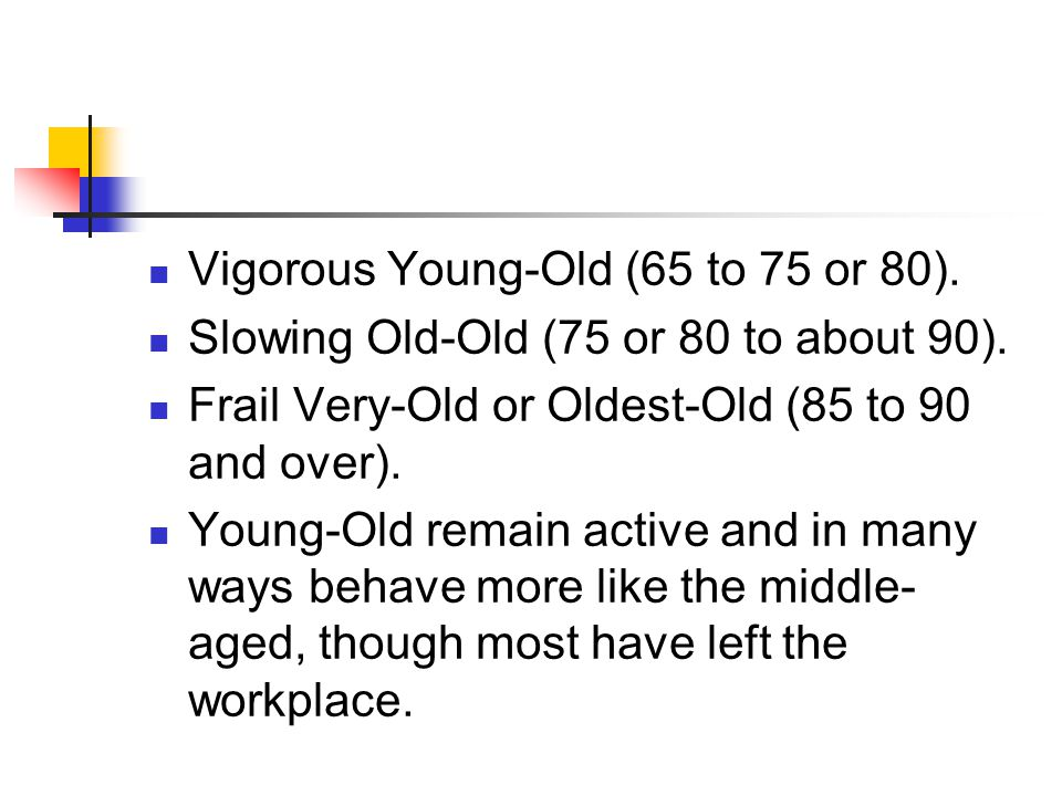 Vigorous Young-Old (65 to 75 or 80).