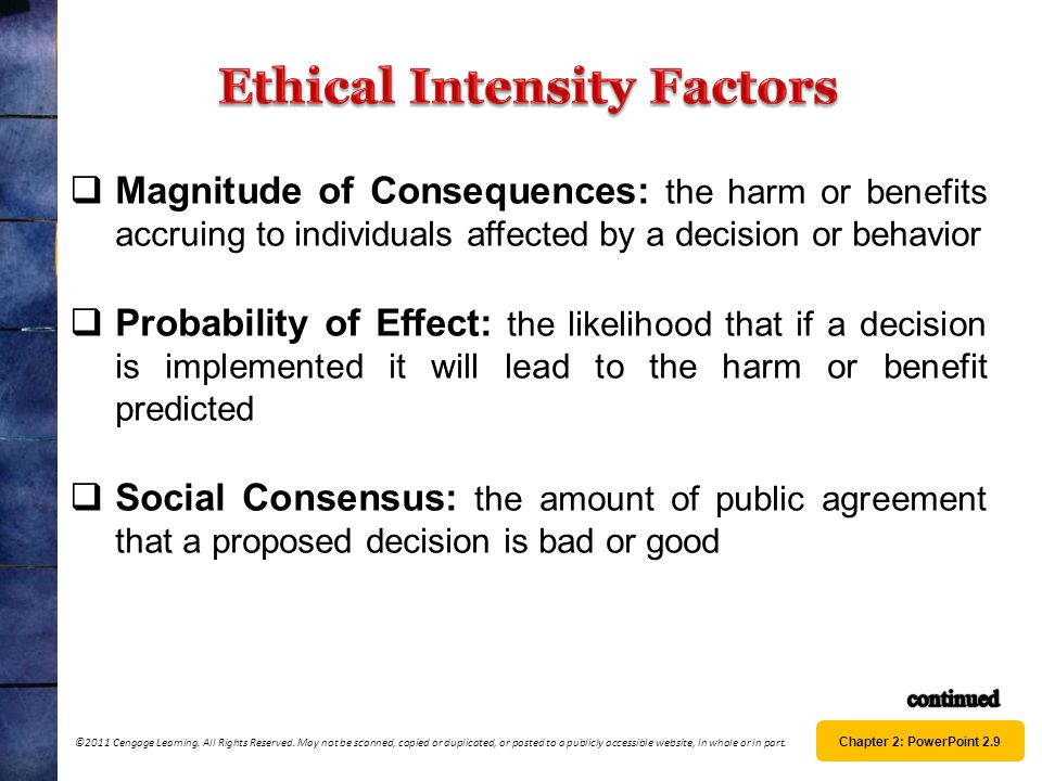 Ethical Intensity Factors