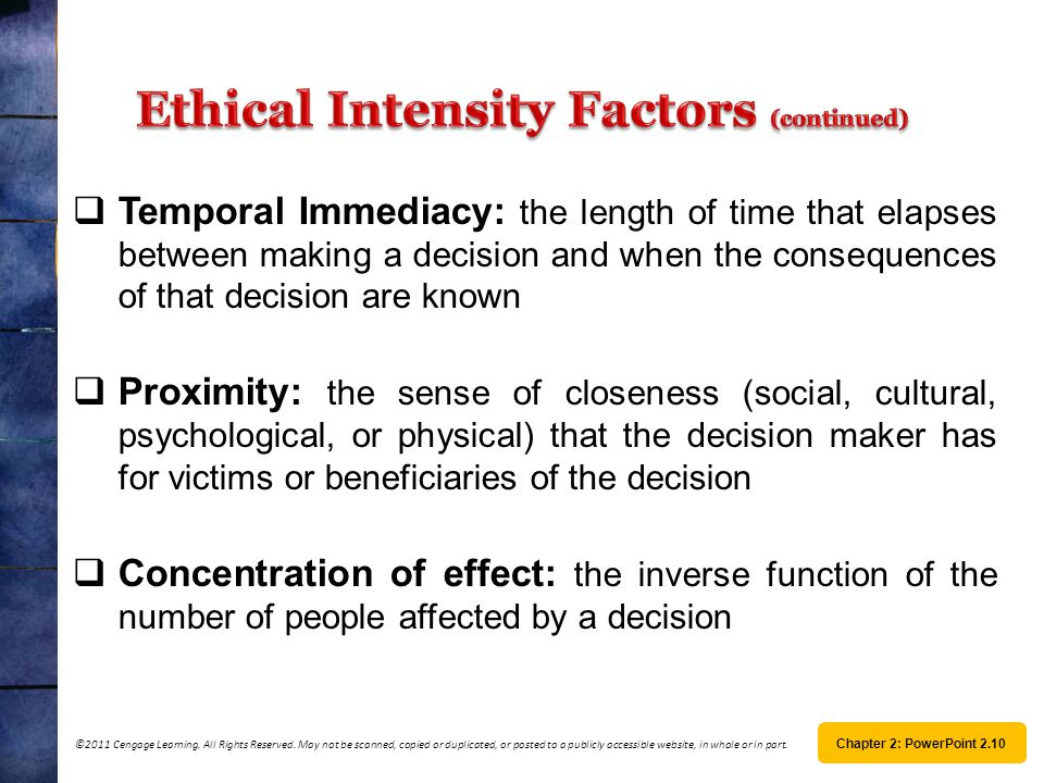 Ethical Intensity Factors (continued)
