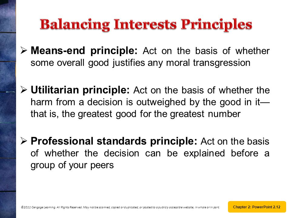 Balancing Interests Principles
