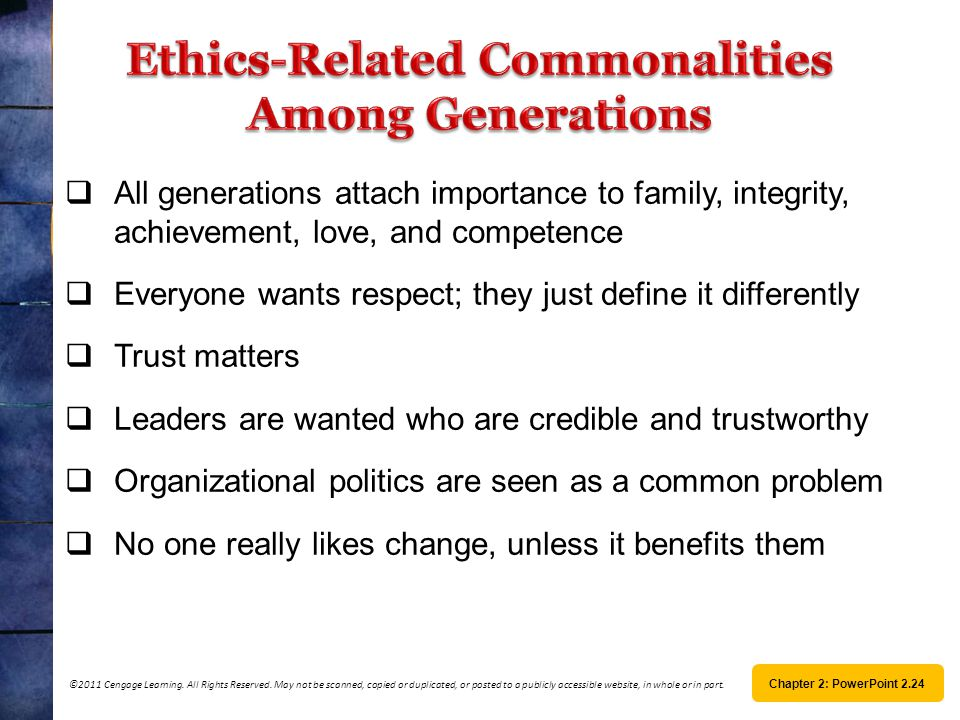 Ethics-Related Commonalities Among Generations