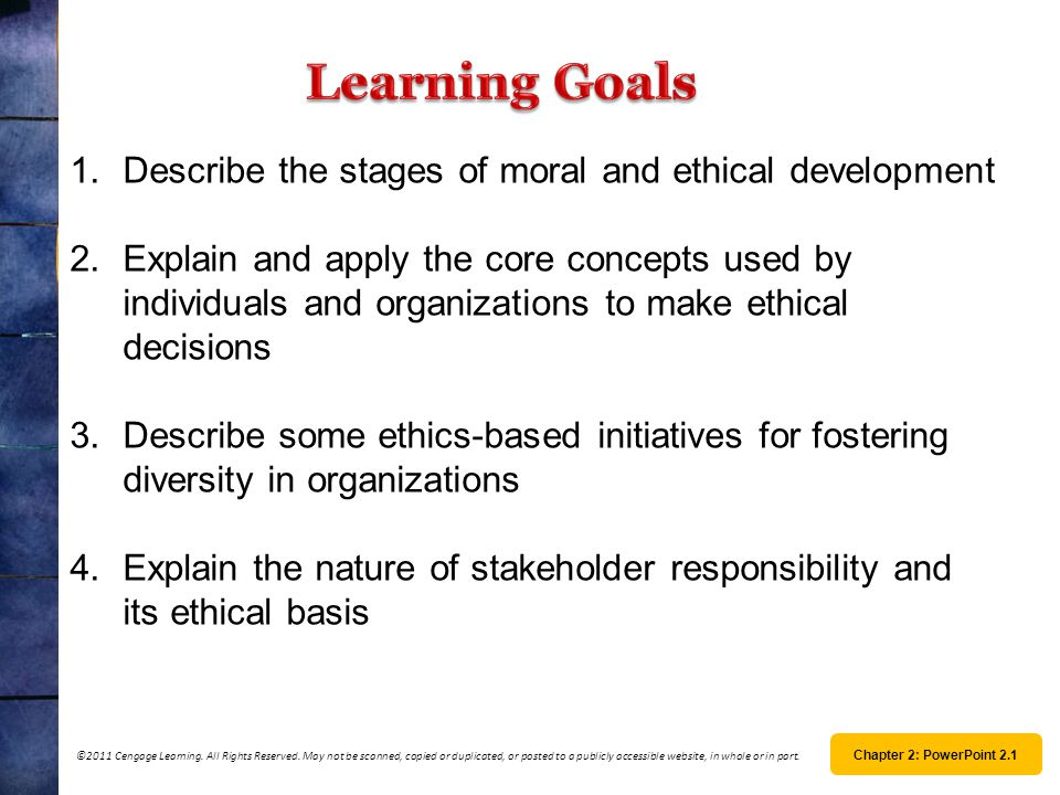 Learning Goals Describe the stages of moral and ethical development