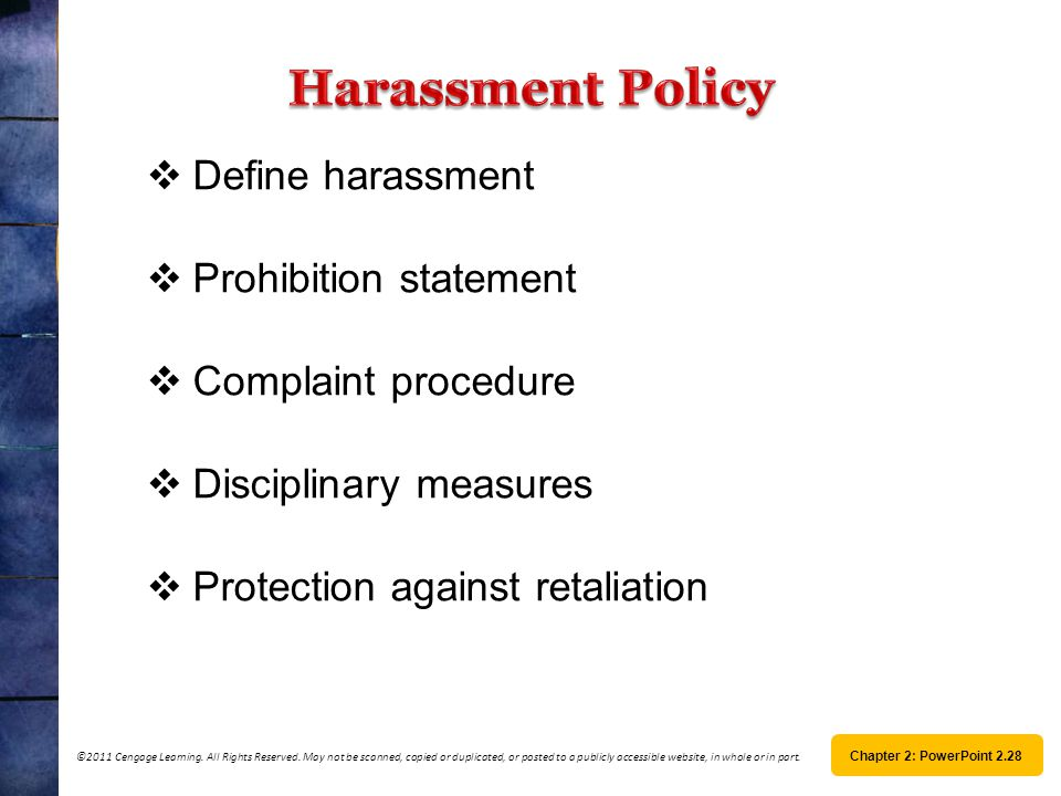 Harassment Policy Define harassment Prohibition statement