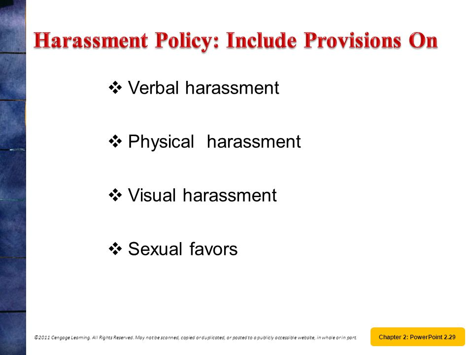 Harassment Policy: Include Provisions On