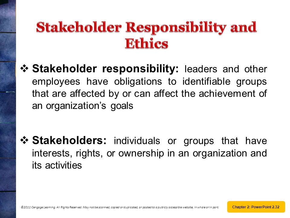 Stakeholder Responsibility and Ethics