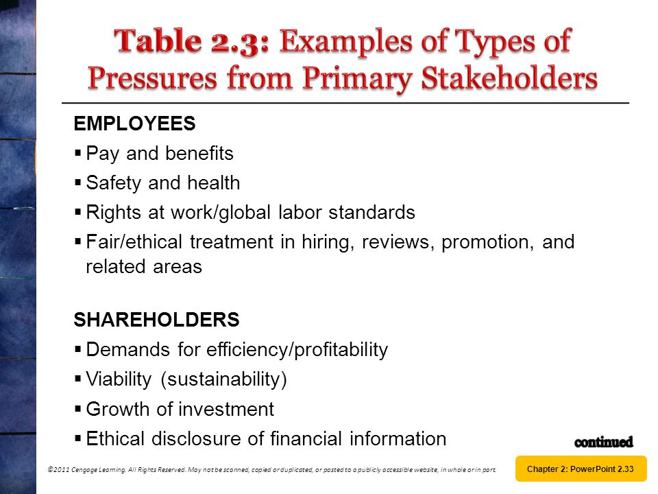 Table 2.3: Examples of Types of Pressures from Primary Stakeholders