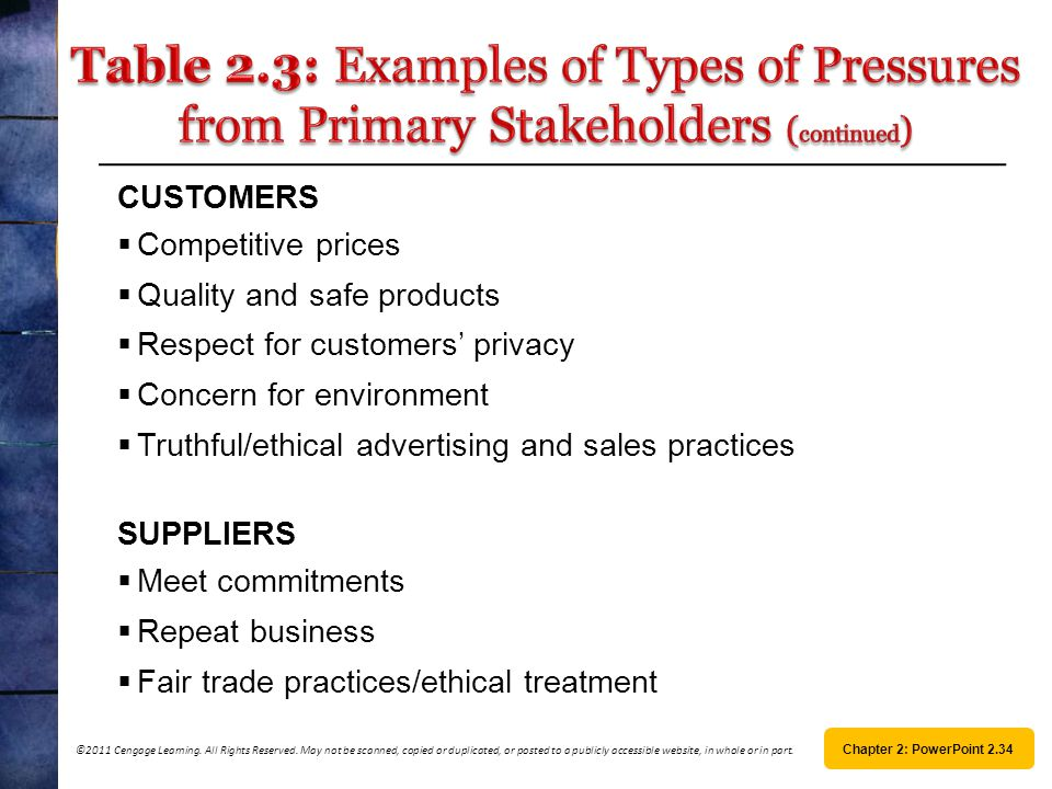 Table 2.3: Examples of Types of Pressures from Primary Stakeholders (continued)