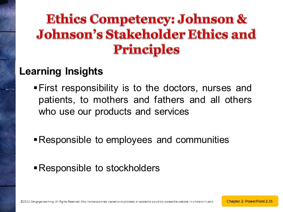 Ethics Competency: Johnson & Johnson's Stakeholder Ethics and Principles