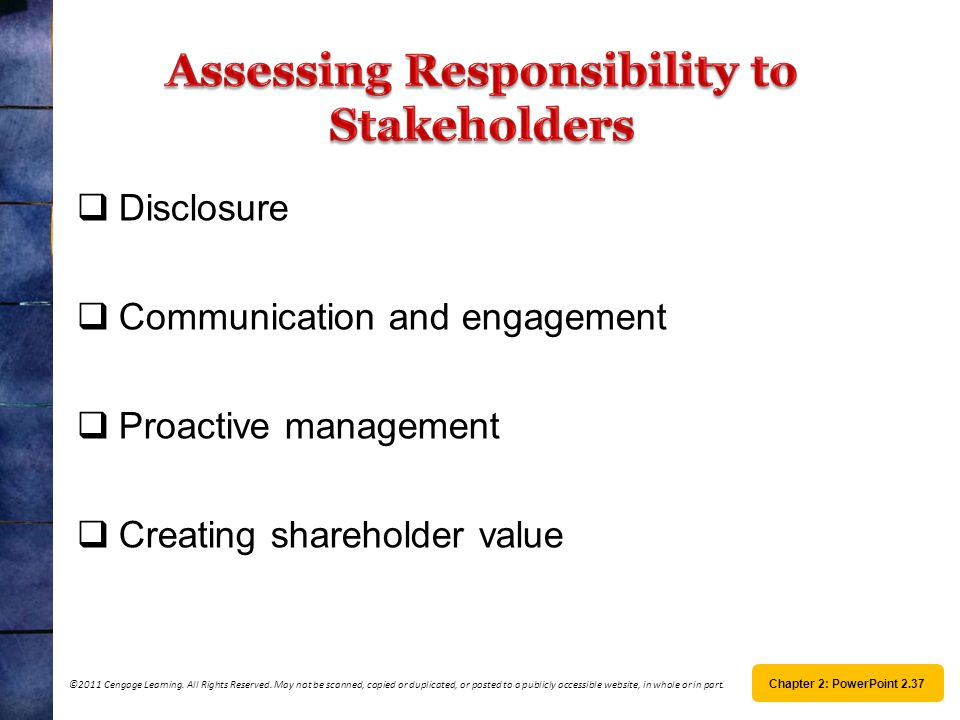 Assessing Responsibility to Stakeholders