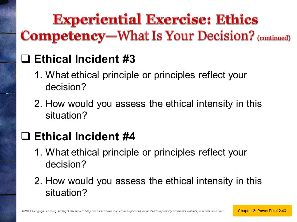 Experiential Exercise: Ethics Competency—What Is Your Decision