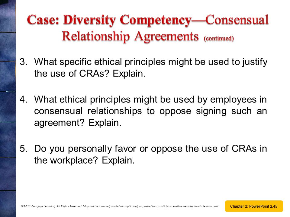 Case: Diversity Competency—Consensual Relationship Agreements (continued)