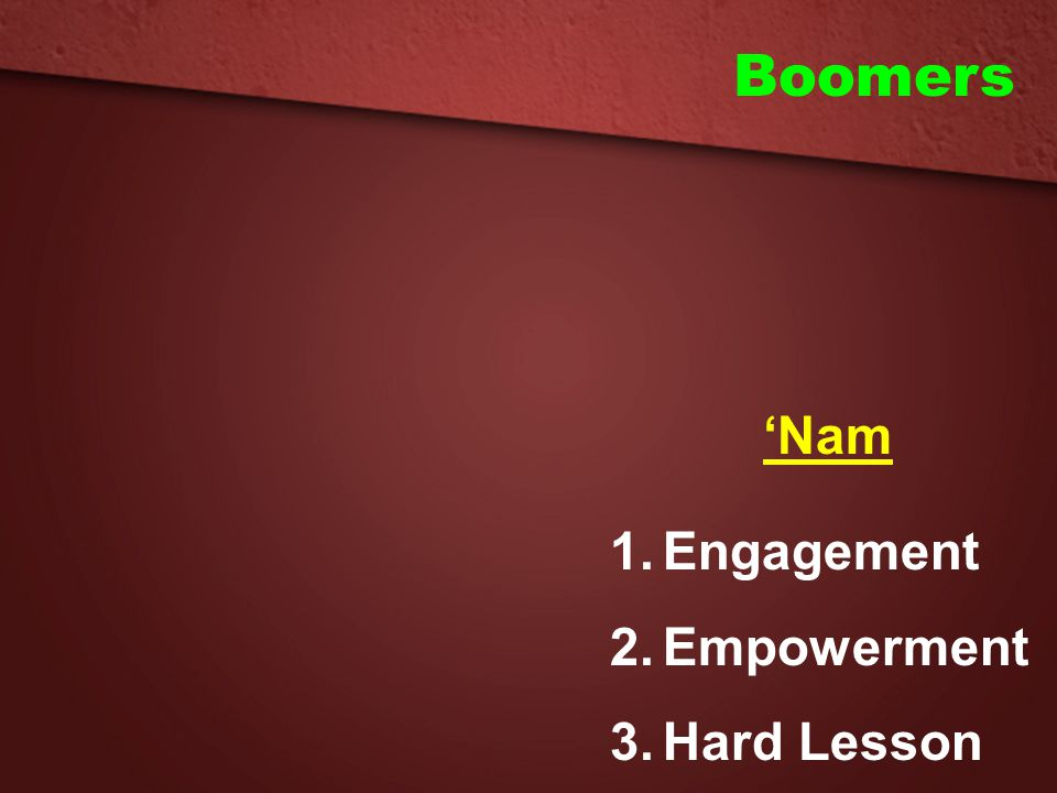 Boomers 'Nam Engagement Empowerment Hard Lesson