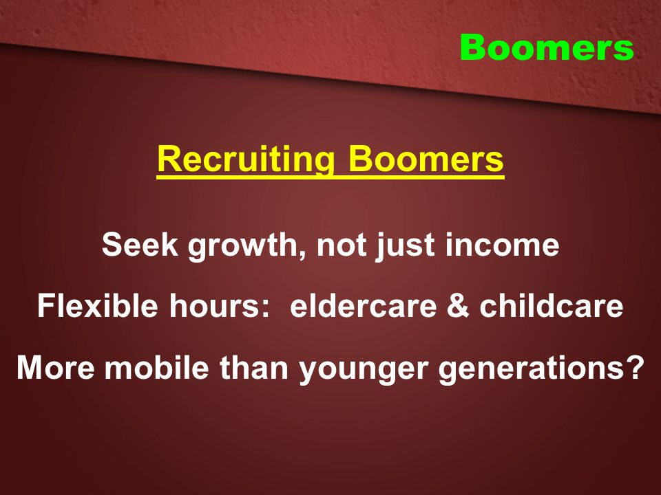 Boomers Recruiting Boomers Seek growth, not just income