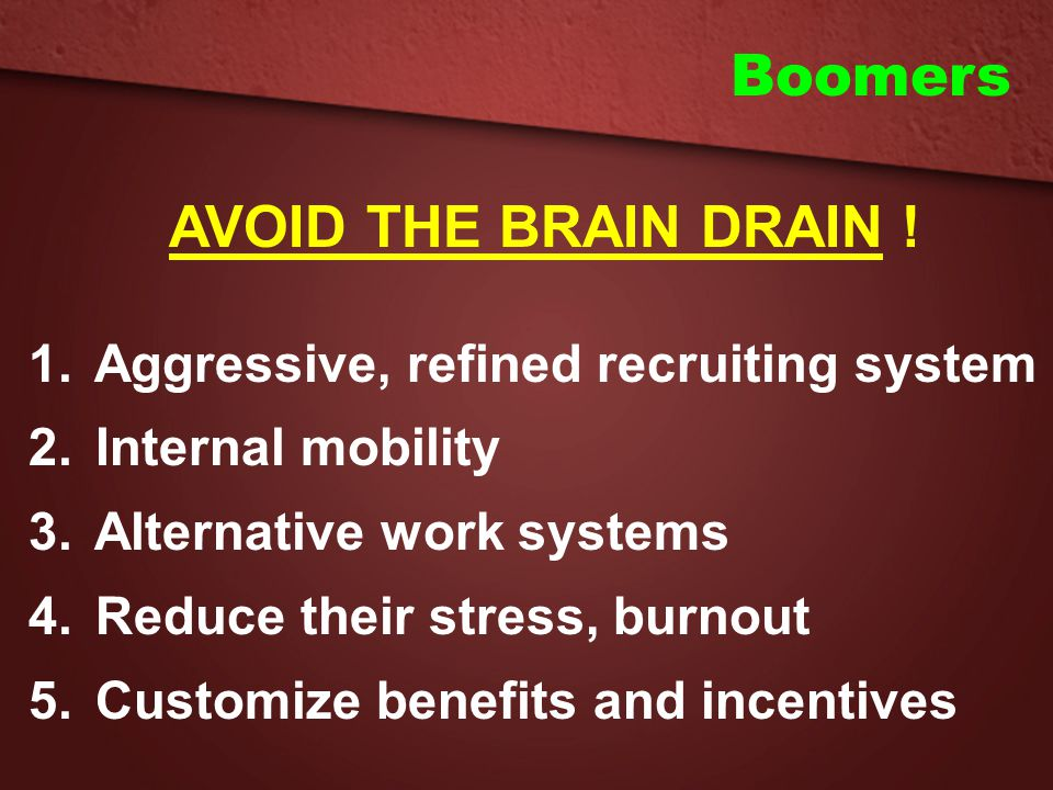 Boomers AVOID THE BRAIN DRAIN ! Aggressive, refined recruiting system