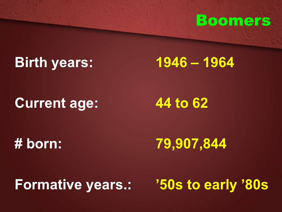 Boomers Birth years: 1946 – 1964 Current age: 44 to 62