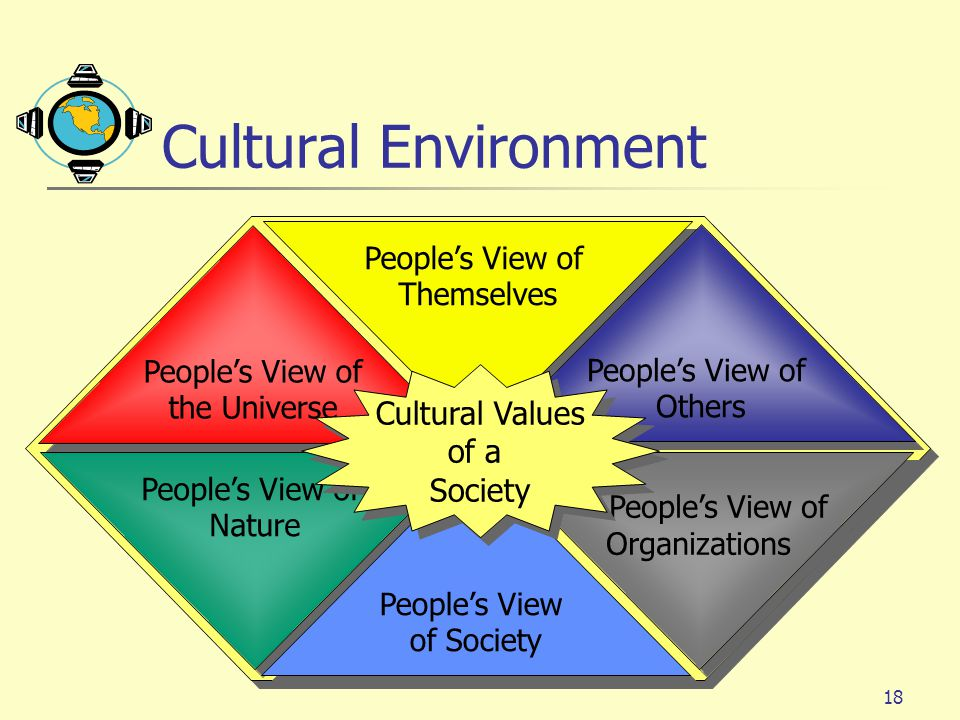 Cultural Environment Cultural Values of a Society People's View of