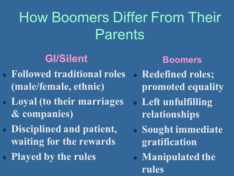 How Boomers Differ From Their Parents