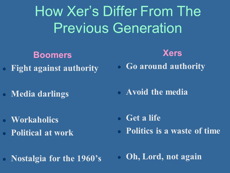 How Xer's Differ From The Previous Generation