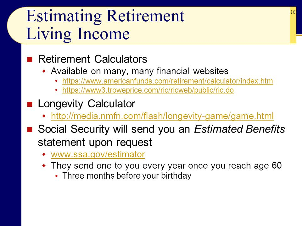 Estimating Retirement Living Income
