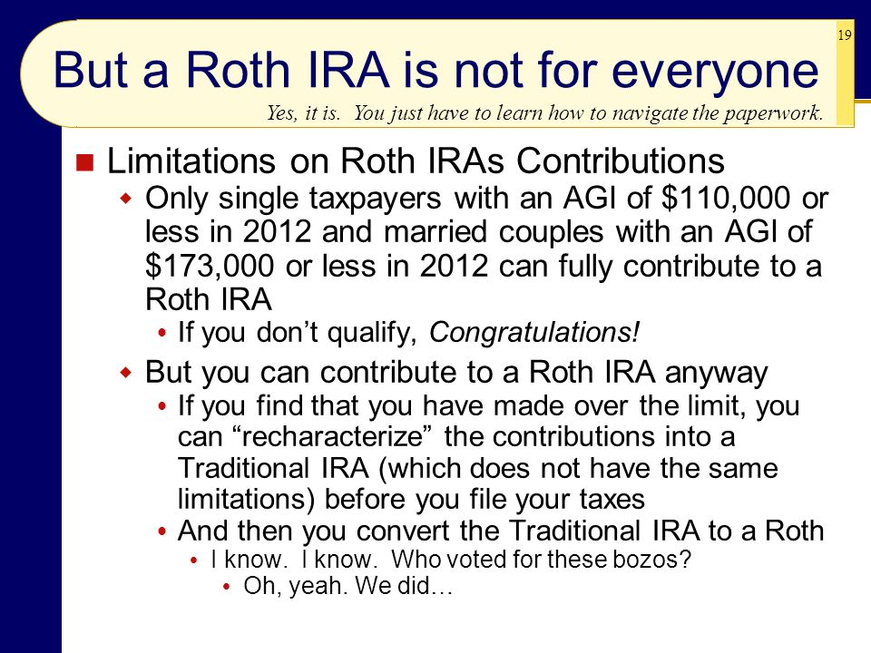 But a Roth IRA is not for everyone