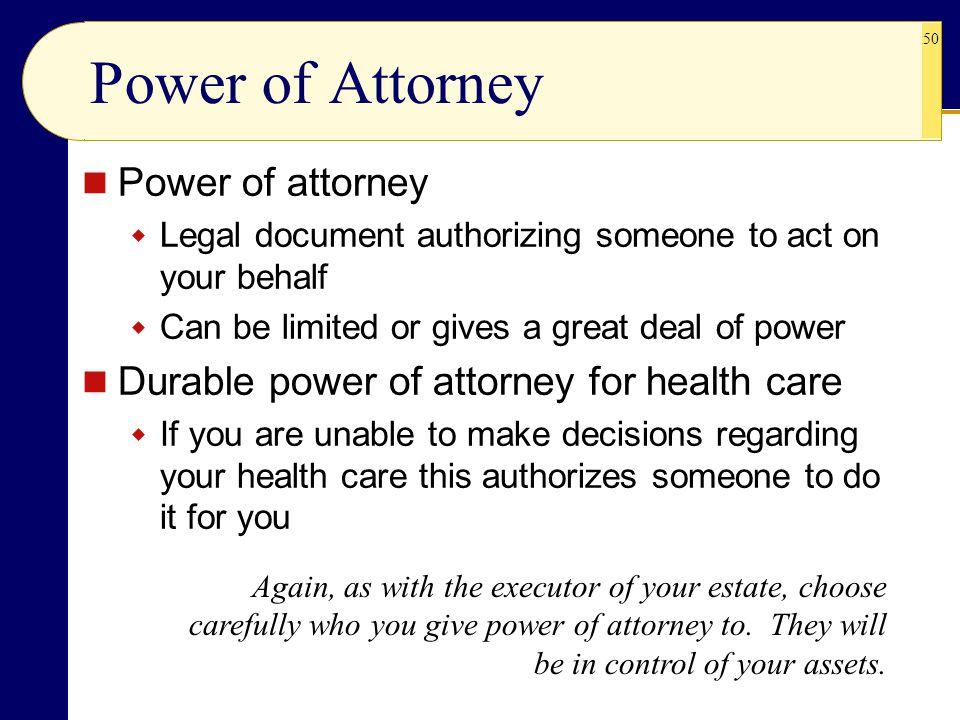 Power of Attorney Power of attorney