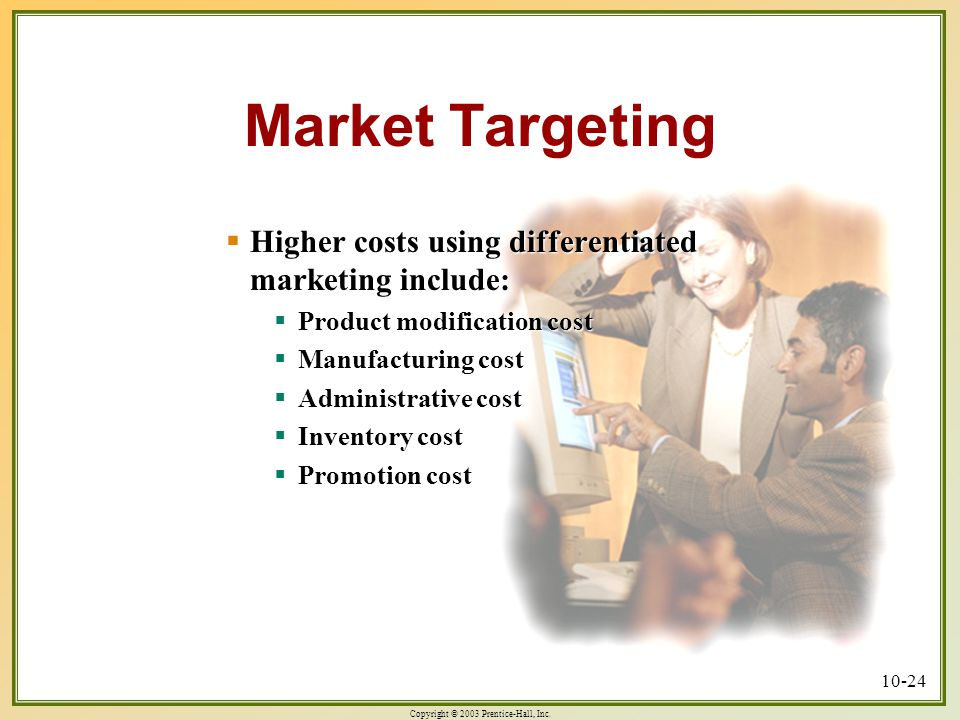 Market Targeting Higher costs using differentiated marketing include: