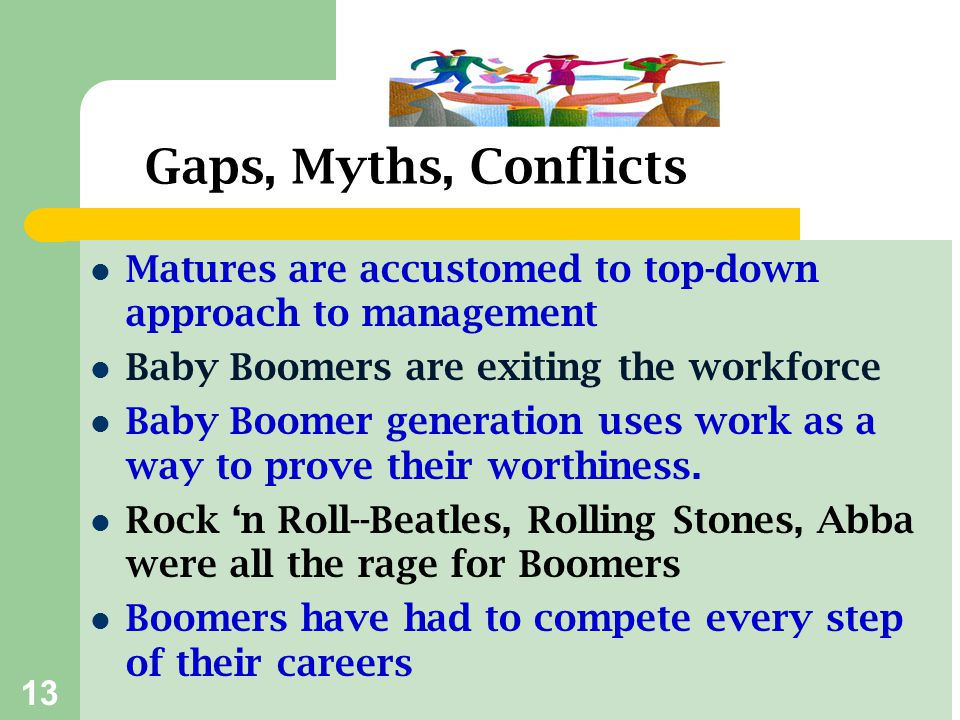 Gaps, Myths, Conflicts Matures are accustomed to top-down approach to management. Baby Boomers are exiting the workforce.