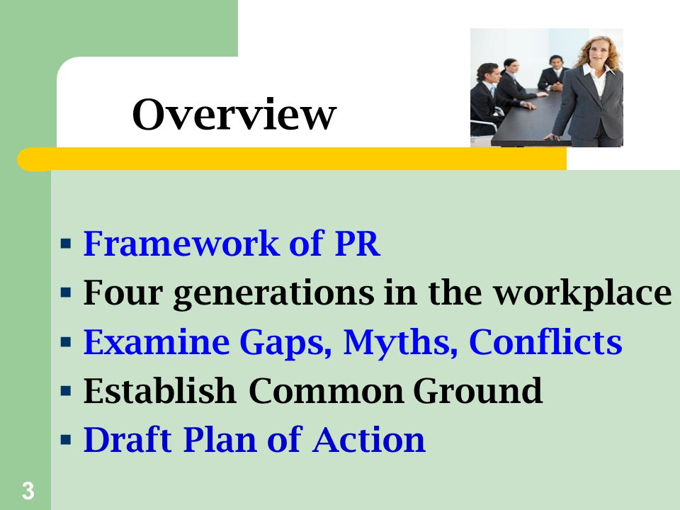 Overview Framework of PR Four generations in the workplace