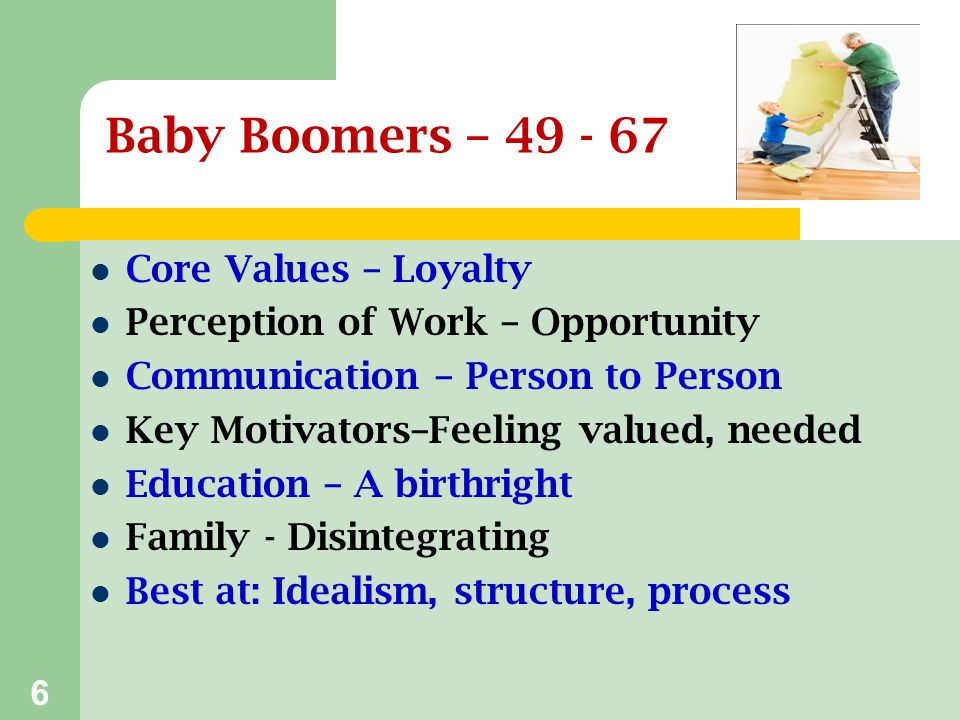 Baby Boomers – 49 - 67 Core Values – Loyalty