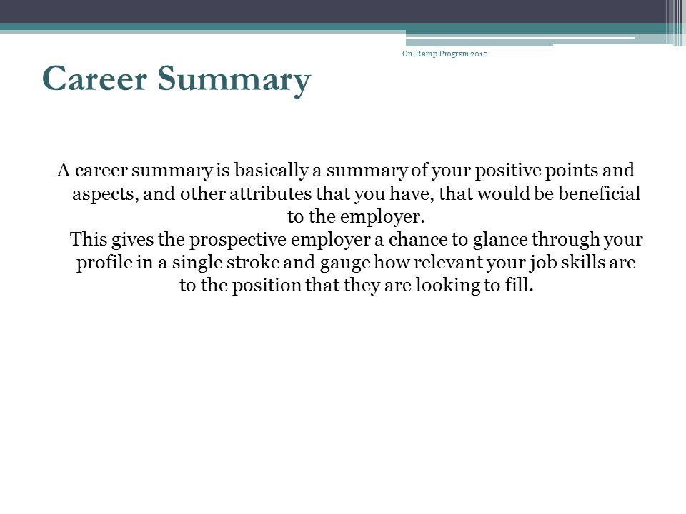 On-Ramp Program 2010 Career Summary.