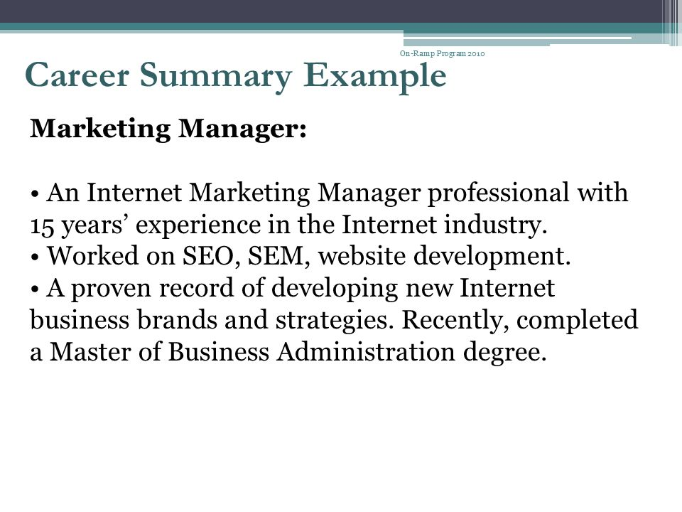 Career Summary Example