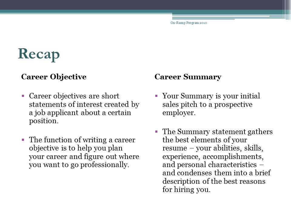 Recap Career Objective