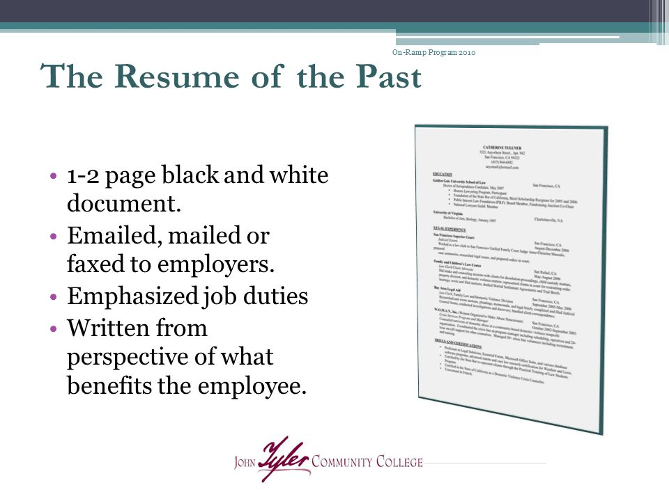 The Resume of the Past 1-2 page black and white document.