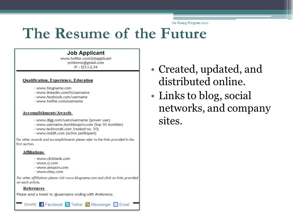 The Resume of the Future