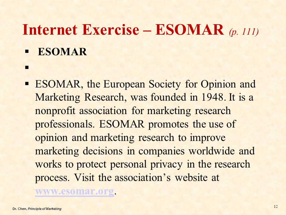 Internet Exercise – ESOMAR (p. 111)