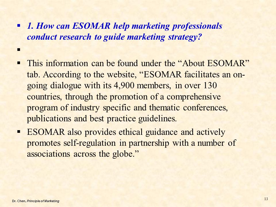 1. How can ESOMAR help marketing professionals conduct research to guide marketing strategy
