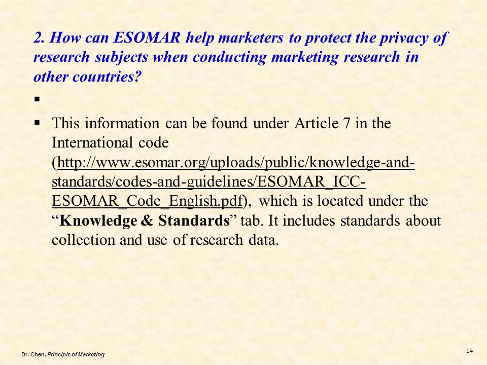 2. How can ESOMAR help marketers to protect the privacy of research subjects when conducting marketing research in other countries