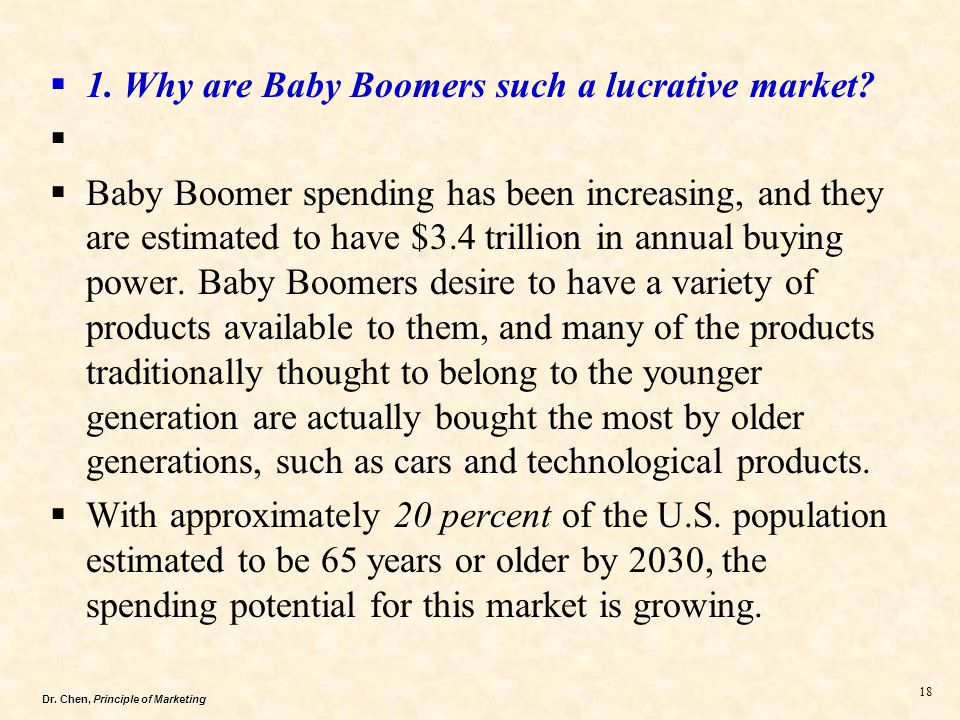 1. Why are Baby Boomers such a lucrative market