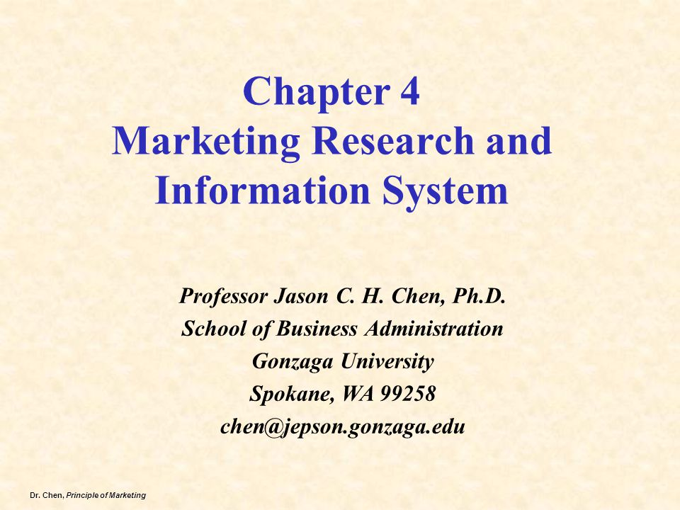 Chapter 4 Marketing Research and Information System