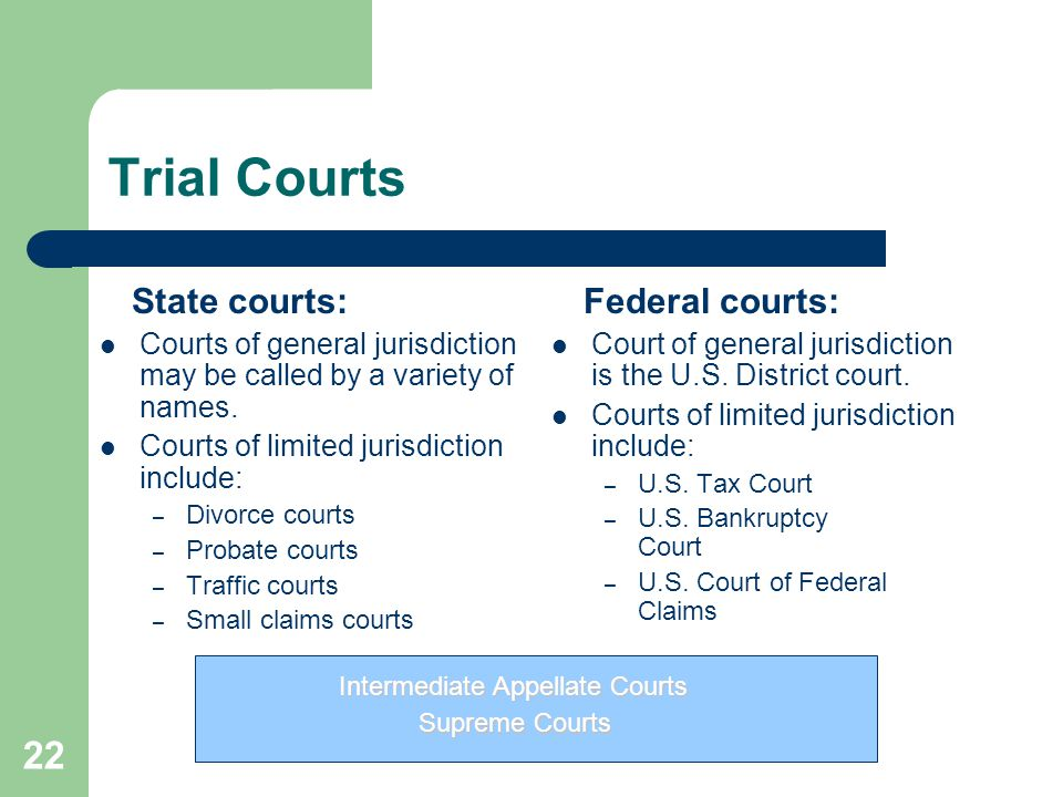 Trial Courts State courts: Federal courts: