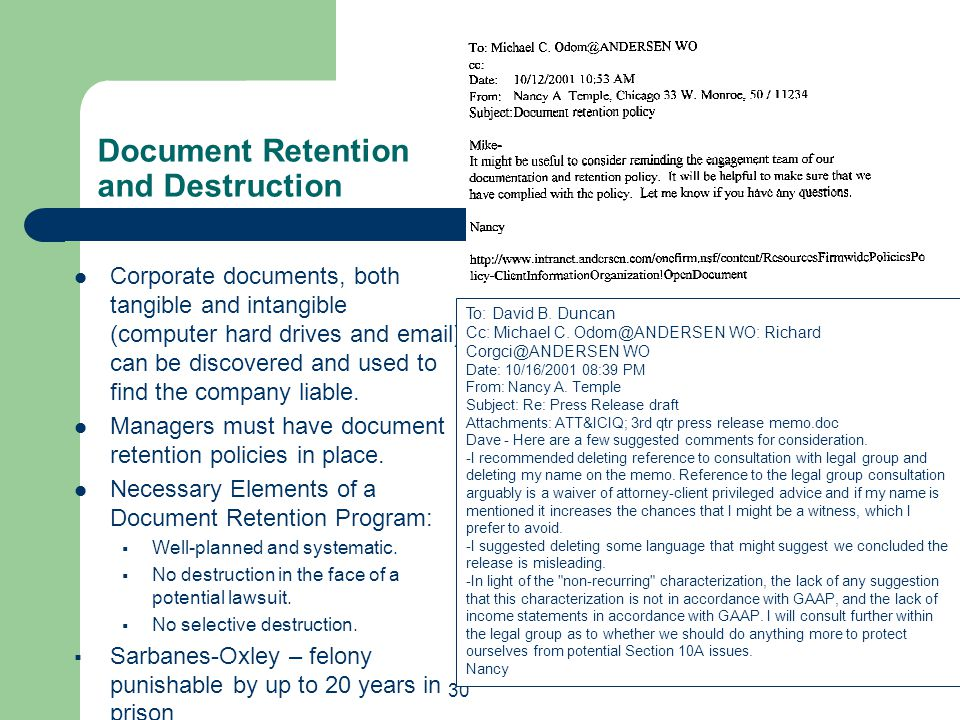 Document Retention and Destruction