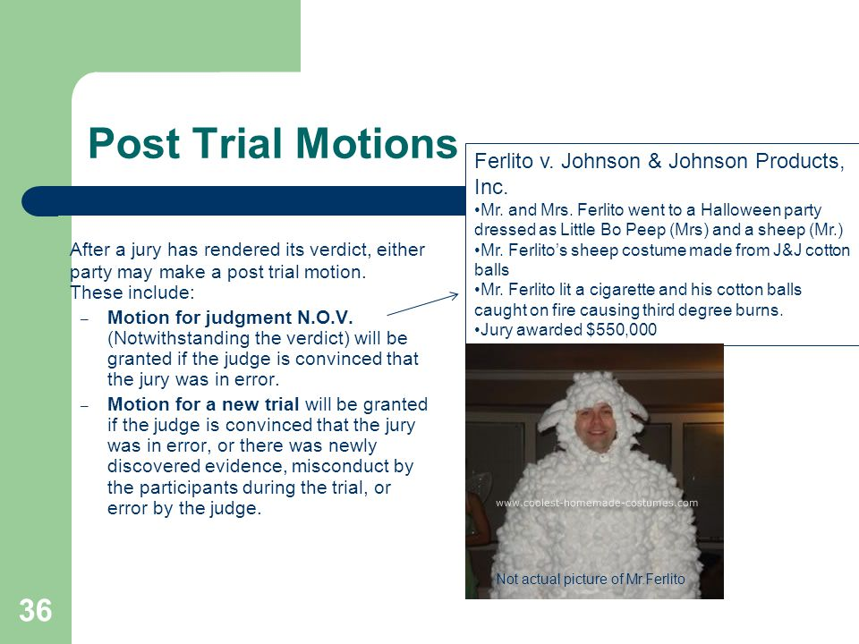 Post Trial Motions Ferlito v. Johnson & Johnson Products, Inc.